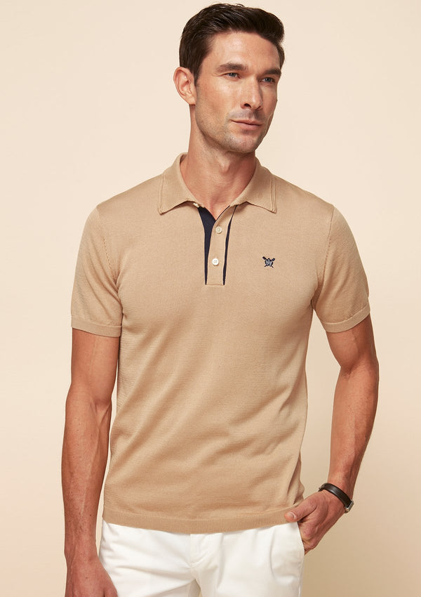 KNITTED POLO WITH CONTRAST PLACKET