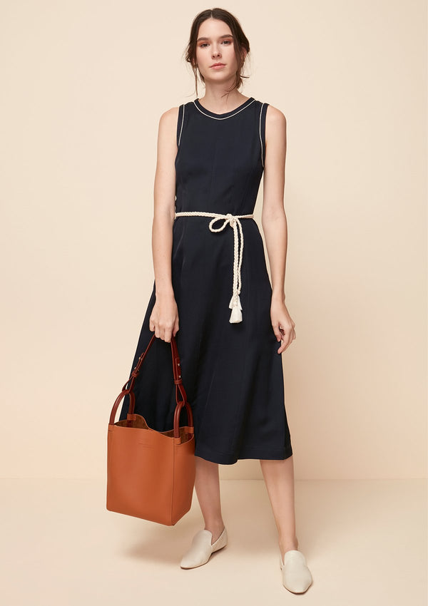 SLEEVELESS MIDI DRESS WITH BRAID ROPE