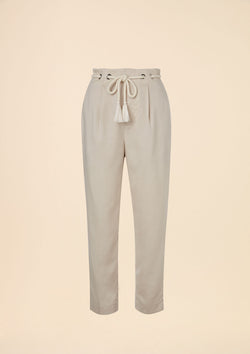 HIGH WAIST TAPERED PANTS WITH ROPE BELT