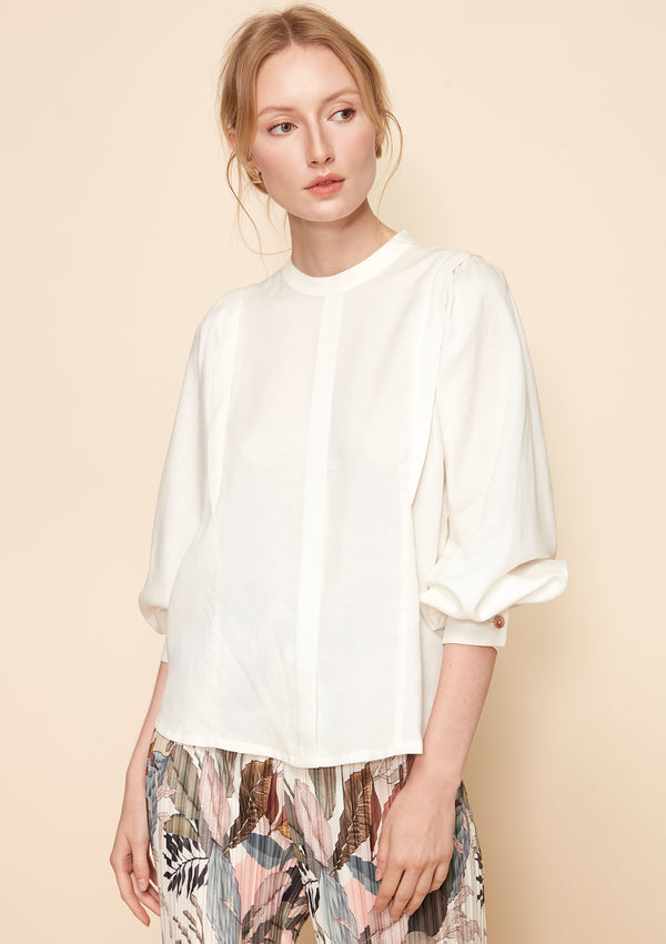 LONG-SLEEVED TENCEL LINEN BLOUSE