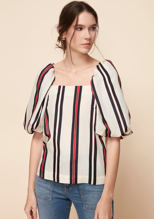 VOLUME-SLEEVED STRIPED BLOUSE