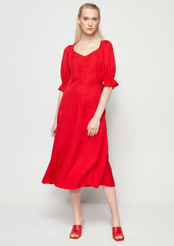 SWEETHEART PUFF-SLEEVED DRESS