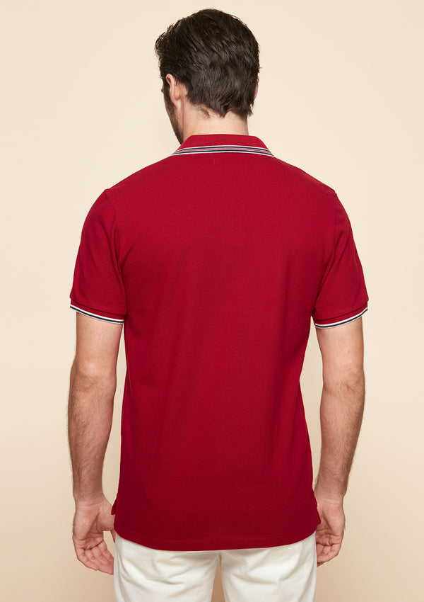 PIQUE POLO WITH STRIPED TRIM DETAIL