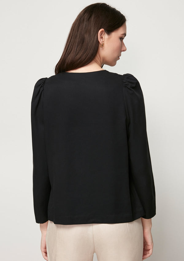 BLACK BLOUSE WITH SHOULDER BUTTON DETAIL