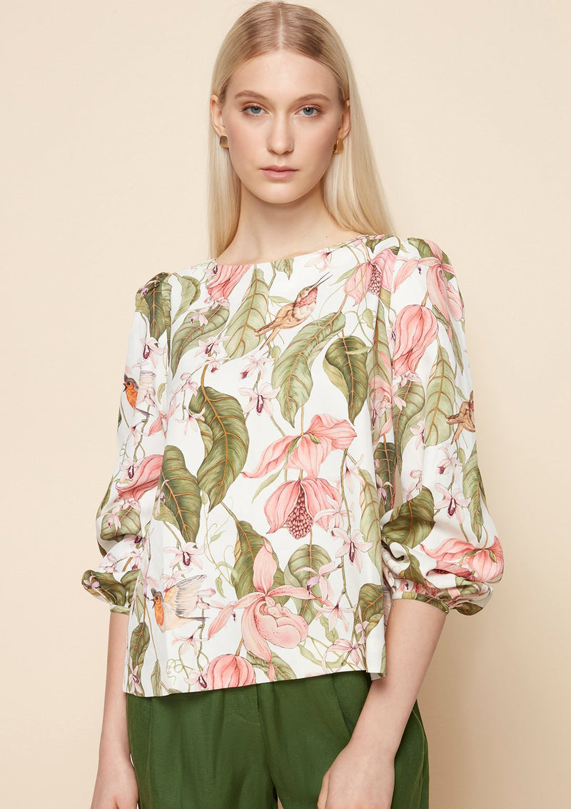 LONG PUFF-SLEEVE PRINTED BLOUSE