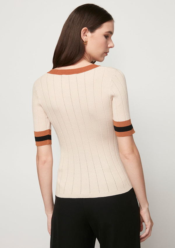 EYELET KNITTED TOP