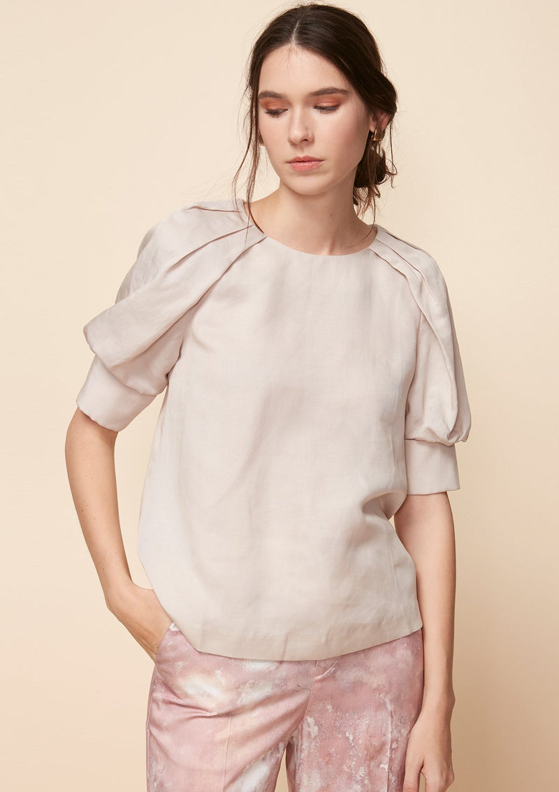 ELBOW-SLEEVED BLOUSE WITH SHOULDER DRAPE DETAIL