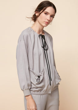 CASUAL JACKET WITH DRAWSTRING DETAIL