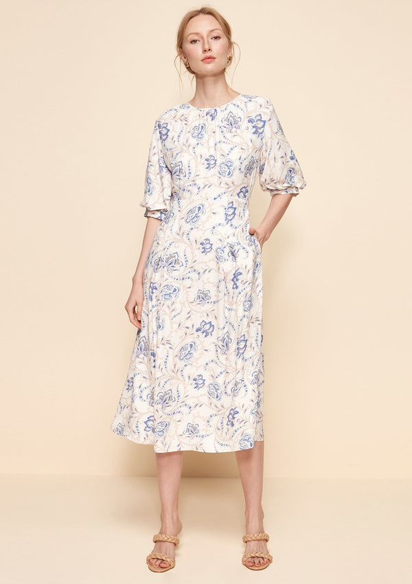 ELBOW PUFF-SLEEVED MIDI DRESS