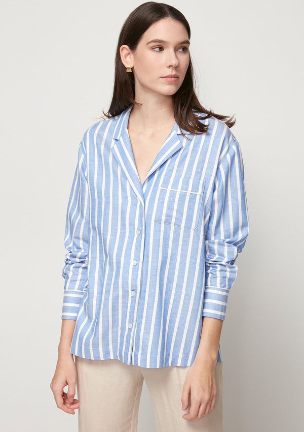 BLUE STRIPED PAJAMA SHIRT