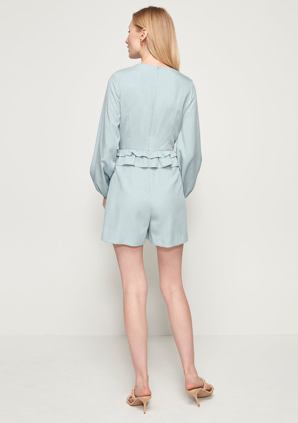 LONG BISHOP-SLEEVED ROMPER WITH RUFFLE DETAIL