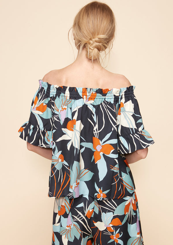 OFF-SHOULDER PRINTED BLOUSE