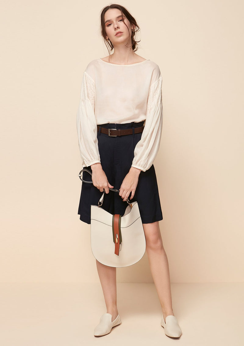 LONG-SLEEVED BLOUSE WITH PINTUCK DETAIL