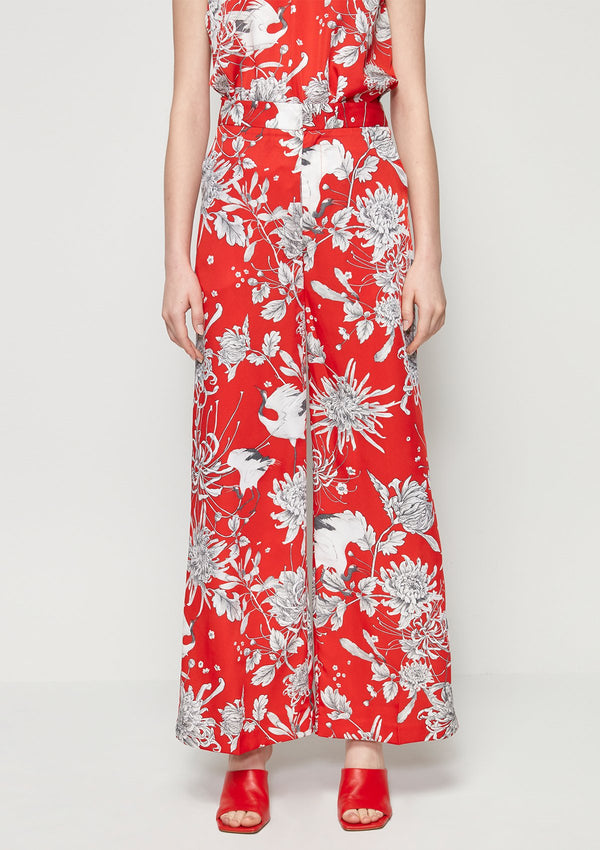 CRANE BIRD PRINTED WIDE LEG PANTS