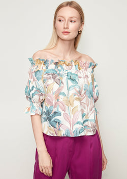 OFF-SHOULDER FLORAL PRINT BLOUSE