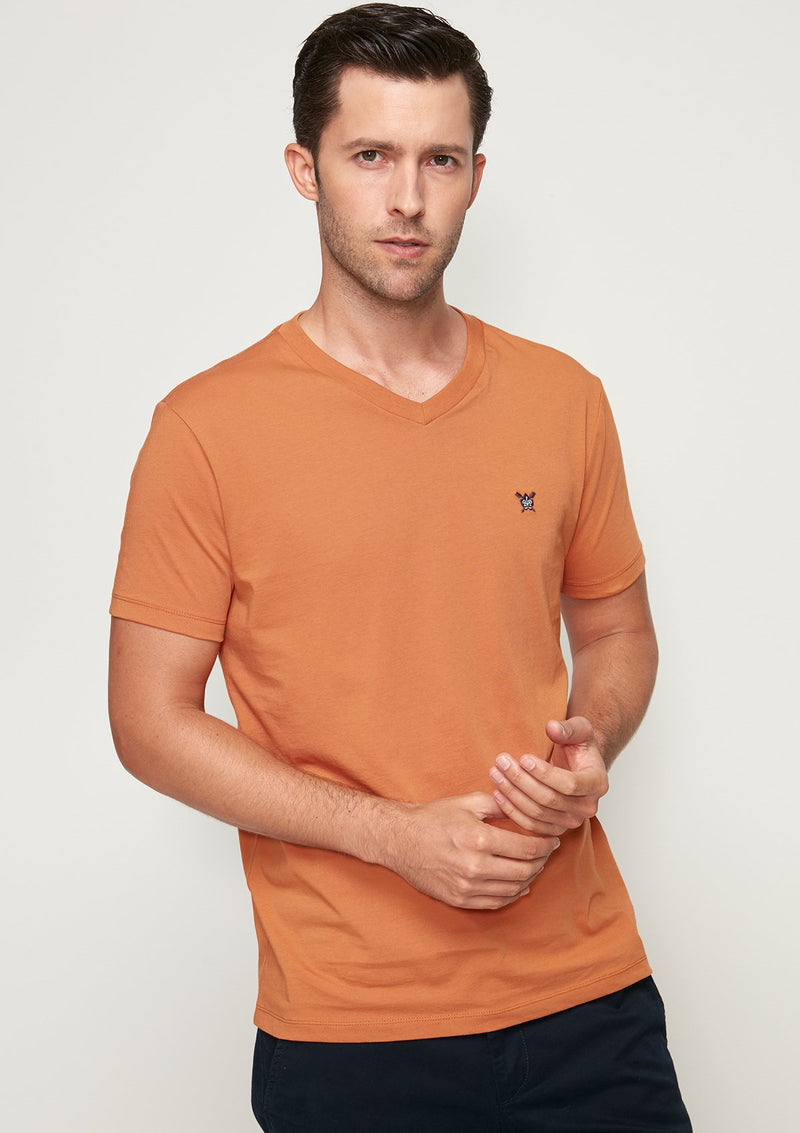 COTTON JERSEY V-NECK TEE