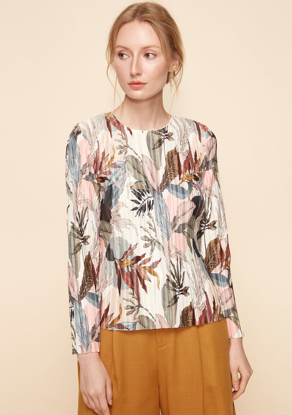 LONG-SLEEVED PRINTED PLEATED TOP