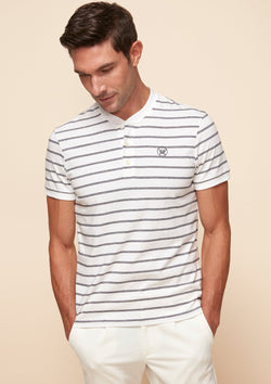 STRIPED COTTON HENLEY TEE