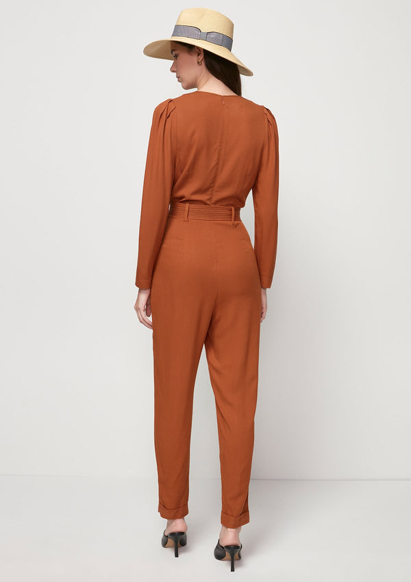 LONG-SLEEVED BELTED JUMPSUIT
