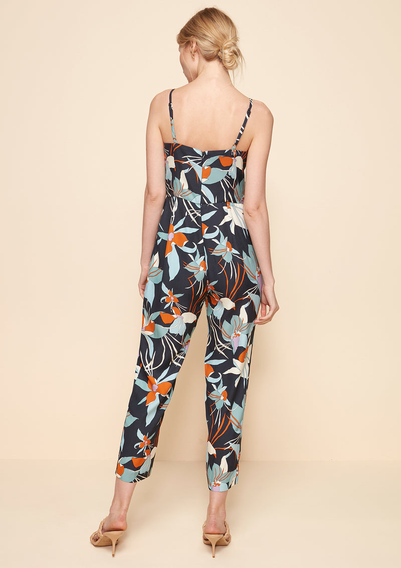FRONT TIE PRINTED JUMPSUIT