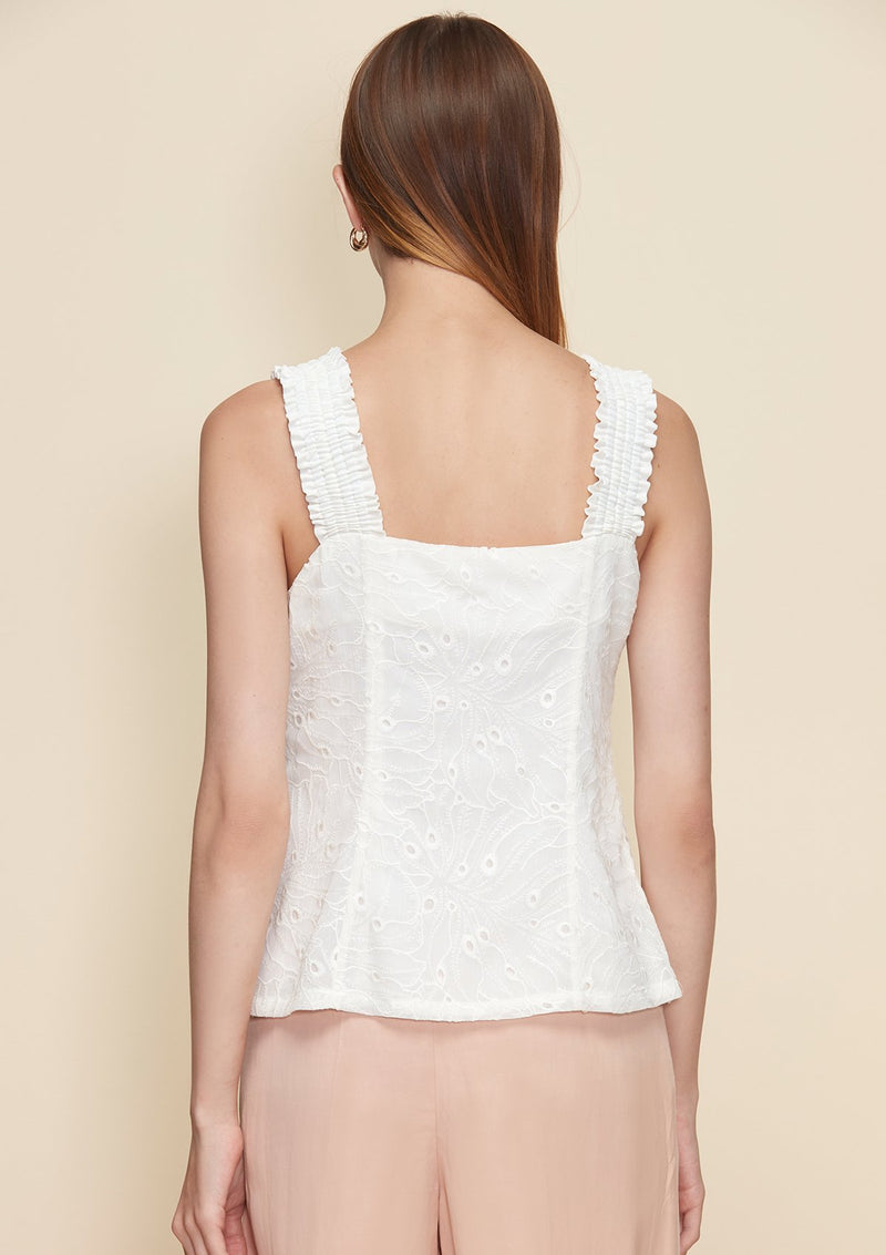 EMBROIDERED TOP WITH SMOCK STRAPS