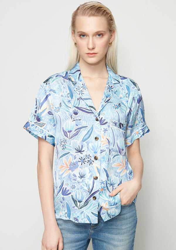 BLUE FLORAL PRINTED HAWAII SHIRT