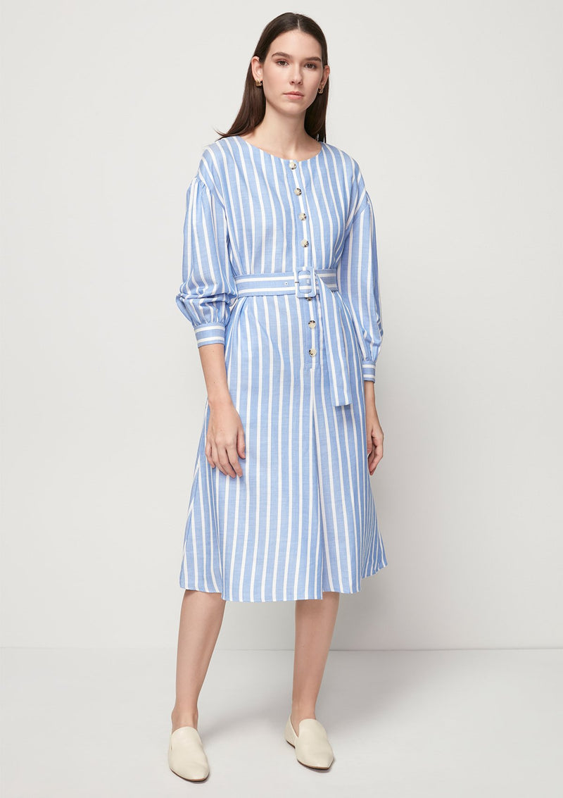 BLUE STRIPED MIDI DRESS