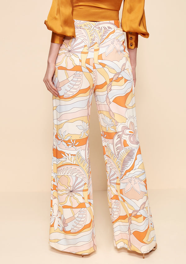 SUMMER FLORAL WIDE LEG PANTS