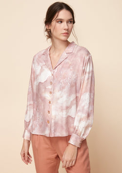 LONG PUFF-SLEEVED PRINTED SHIRT