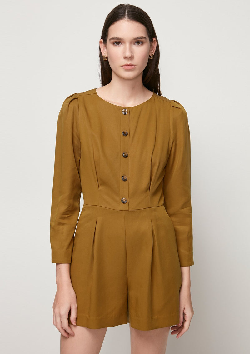 LONG-SLEEVED ROMPER WITH BUTTON DETAIL