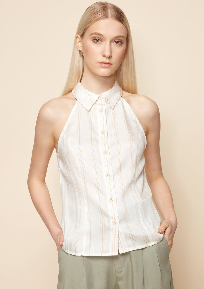 HALTER NECK STRIPED SHIRT