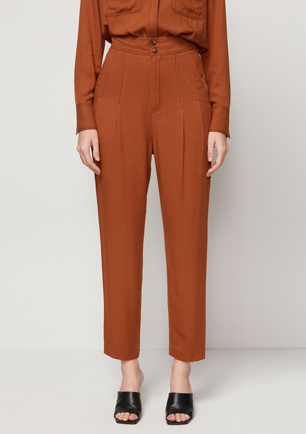 DOUBLE-BUTTONED BROWN TROUSERS