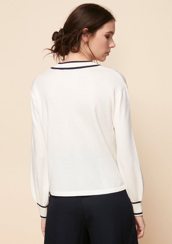 V-NECK SWEATER WITH CONTRAST HEM