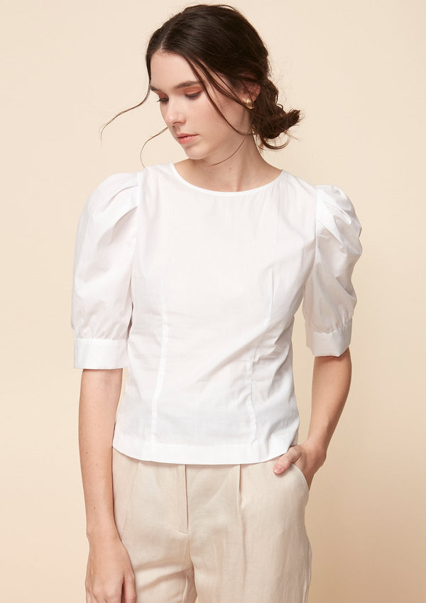 ELBOW PUFF-SLEEVED BLOUSE