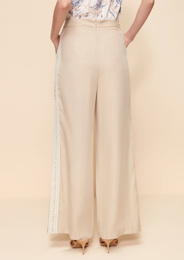 WIDE LEG PANTS WITH CONTRAST PANEL