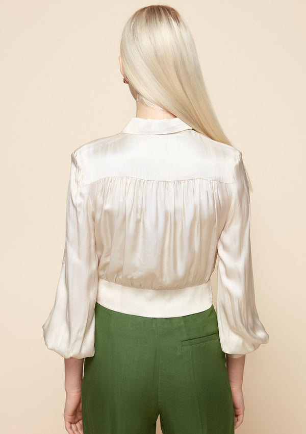 LONG-SLEEVED CROP SATIN SHIRT