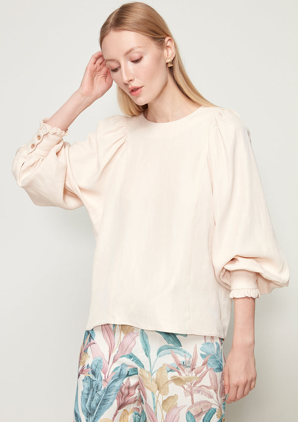 VOLUME-SLEEVED SHIRT WITH DRAPED SHOULDER