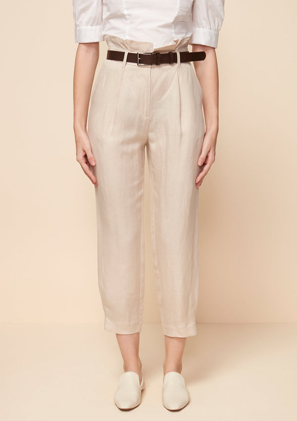 PAPERBAG-WAIST TAPERED PANTS WITH BELT