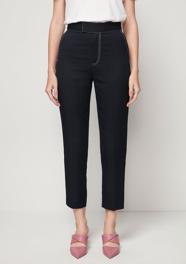 TAPERED PANTS WITH CONTRAST STITCHING DETAIL