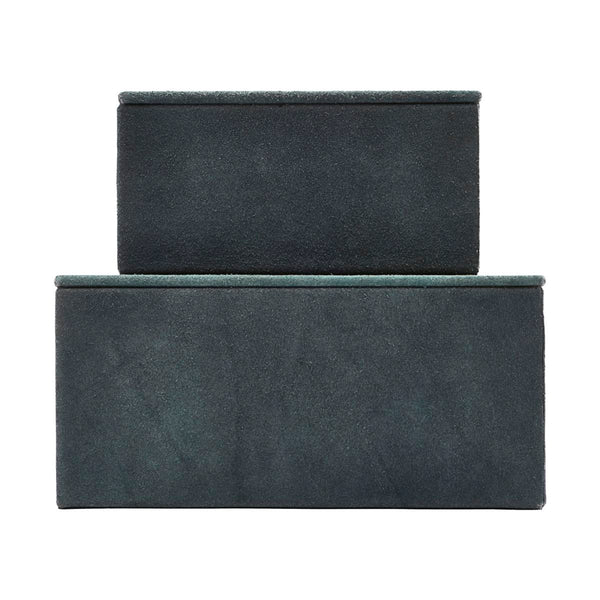 HOUSE DOCTOR STORAGE, SUEDE, BLUE, SETOF 2 SIZES