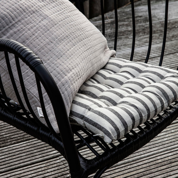 HOUSE DOCTOR SEAT CUSHION, STRIPED, BLACK/GREY, 35X35 CM