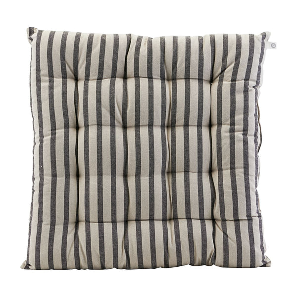 HOUSE DOCTOR SEAT CUSHION, STRIPED, BLACK/GREY, 50X50CM