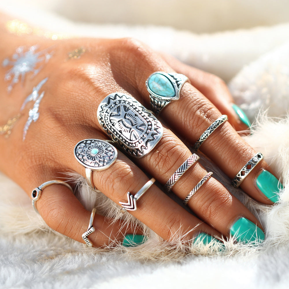 Blue Stone Rings Kit 2 - 10 pieces