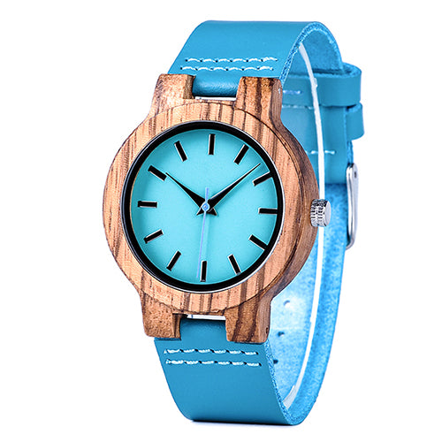 Blue Leather Wood Watch