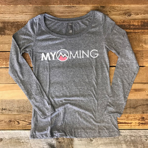 Women's Myoming Long Sleeve- Heather Grey w/Pink