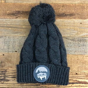 Bison Moon Reflection Pom Beanie - Charcoal