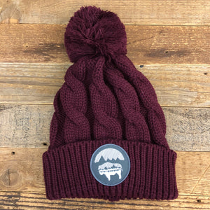 Bison Moon Reflection Pom Beanie - Maroon