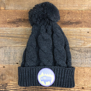 Bison Moon Mama Bear Pom Beanie - Charcoal