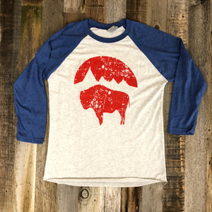 Women's Bison Moon Baseball Tee- Blue/White