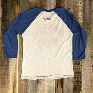 Bison Moon Baseball Tee | WyoMade Apparel | Blue/White